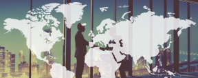 Graphic of World map overlayed on a Photo of two people shaking hands.